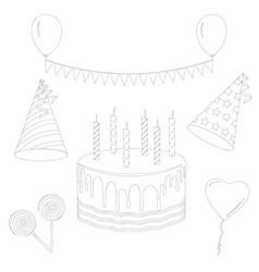 birthday party elements set line art elements vector image
