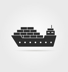 black cargo ship icon with shadow vector image