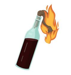 burning molotov cocktail bottle explosive liquid vector image
