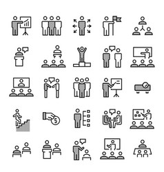 Business peoplepresentationtraining icons set in vector