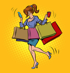 business woman with shopping vector image
