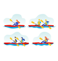 Cartoon color characters people and extreme water vector