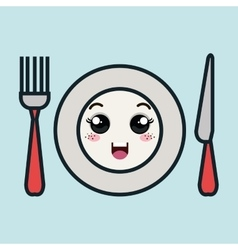 Cartoon plate fork and knife with facial vector