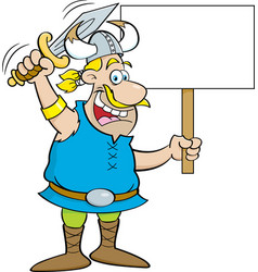 Cartoon viking waving a sword and holding a sign vector