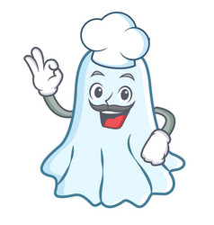 chef cute ghost character cartoon vector image