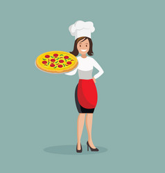 Chef woman with pizza vector