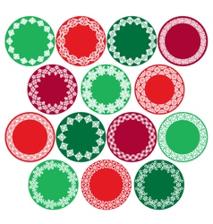 Christmas circle labels vector