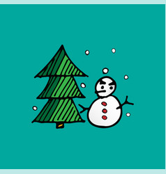 christmas snowman and xmas tree doodle holiday vector image