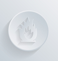 circle icon with a shadow fire sign vector image