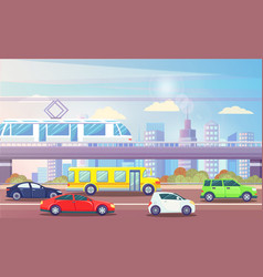 Cityscape with transport cars and train urban city vector