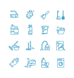 cleaning and washing house outline icons vector image