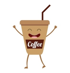 Coffee hot character icon vector