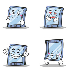 collection of tablet character cartoon style set vector image