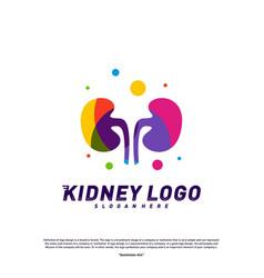 colorful kidney logo design concept urology logo vector image