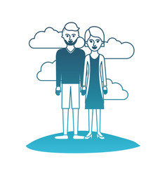 couple in degraded blue silhouette scene outdoor vector image