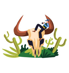 cowboy wild western style bandit sitting on big vector image