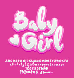 Cute Pink Baby Girl Alphabet Royalty Free Vector Image