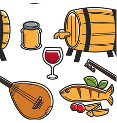 cyprus food drink and musical instrument seamless vector image