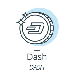Dash cryptocurrency coin line icon of virtual vector