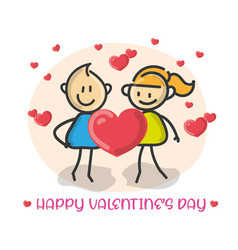 doodle cartoon figure happy valentines day vector image