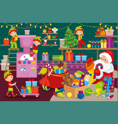 Elves and santa claus are packing gifts vector