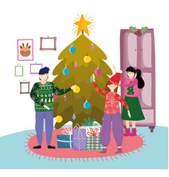 family in living room with tree gifts vector image