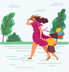 family walk in park during strong wind vector image