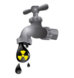 Faucet with drop water contaminated vector