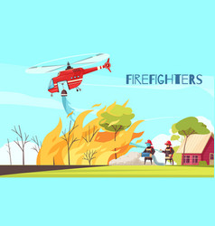 fighting wild fire background vector image