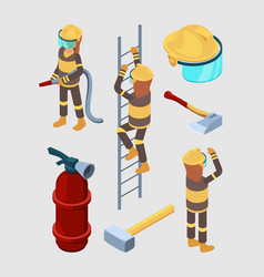 firefighters isometric proffesional equipment of vector image