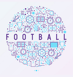 Football concept in circle with thin line icons vector