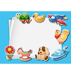 Frame design with many toys background vector