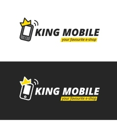 Funny mobile logotype E-shop logo vector