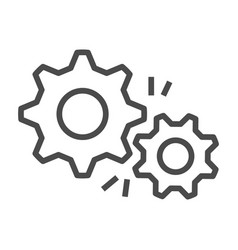 gear outline icon flat design style vector image