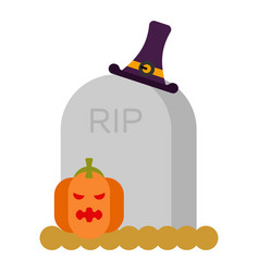 gravestone and pumpkin grave and hat witch vector image