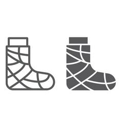 gypsum line and glyph icon trauma and injury vector image