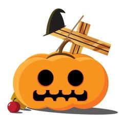 Halloween pumpkins cartoon vector