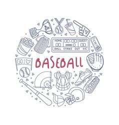 hand drawn baseball symbols framed template vector image