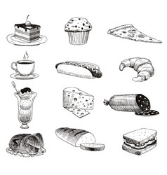 hand drawn food sketch and kitchen doodle vector image