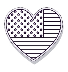 Heart usa flag isolated icon vector
