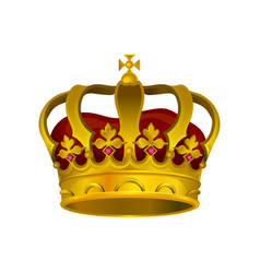 icon of golden crown with precious stones vector image