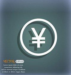 Japanese Yuan icon sign On the blue-green abstract vector
