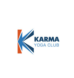 Karma yoga club letter k icon vector