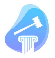 law and constitution symbol hammer on pillar vector image