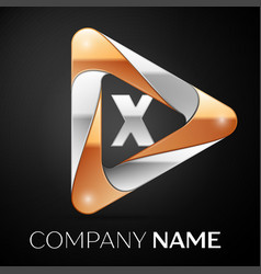 Letter x logo symbol in the colorful triangle on vector