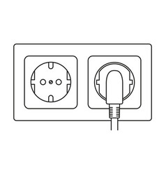 Line art black and white electric socket vector
