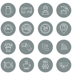 Line gas station icons Service fuel glyph icons vector image