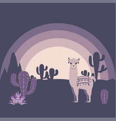 llama with cacti vector image