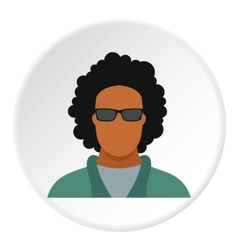 Male afro avatar icon flat style vector