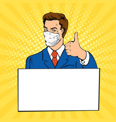 man with medical mask thumb up pop art vector image